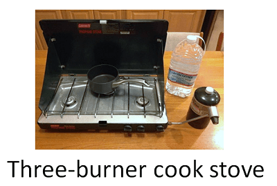 Three burner camp stove