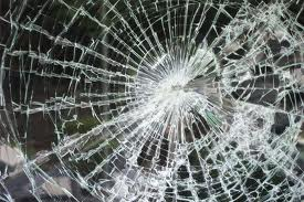 Broken security glass