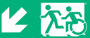 Evacuation sign for disabled.