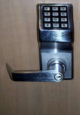 keypad lock on workplace door