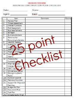 Business Continuation Plan Checklist