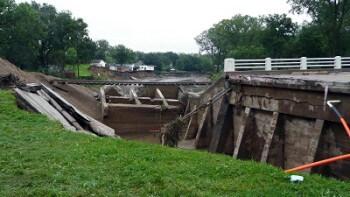 Bridge down after flood