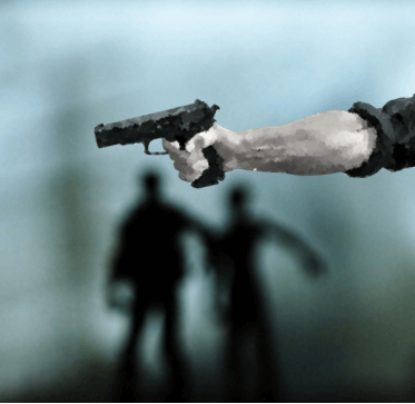 Terrorist with pistol