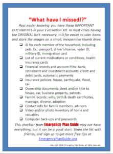 Items for Evacuation Checklist